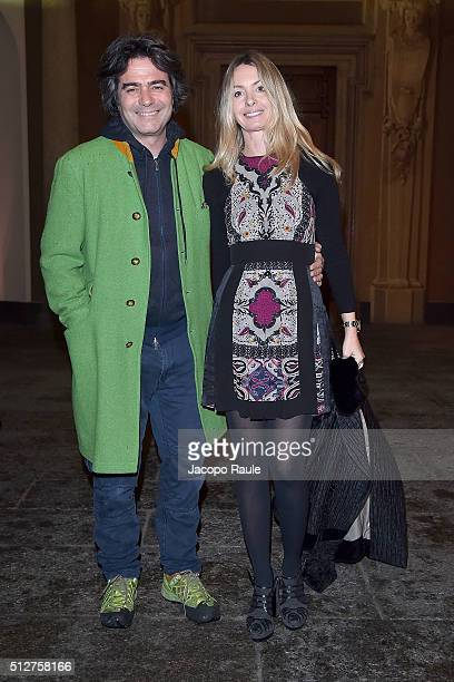 Kean Etro and Costanza Etro attend Vogue Cocktail Party honoring photographer Mario Testino on February 27 2016 in Milan Italy