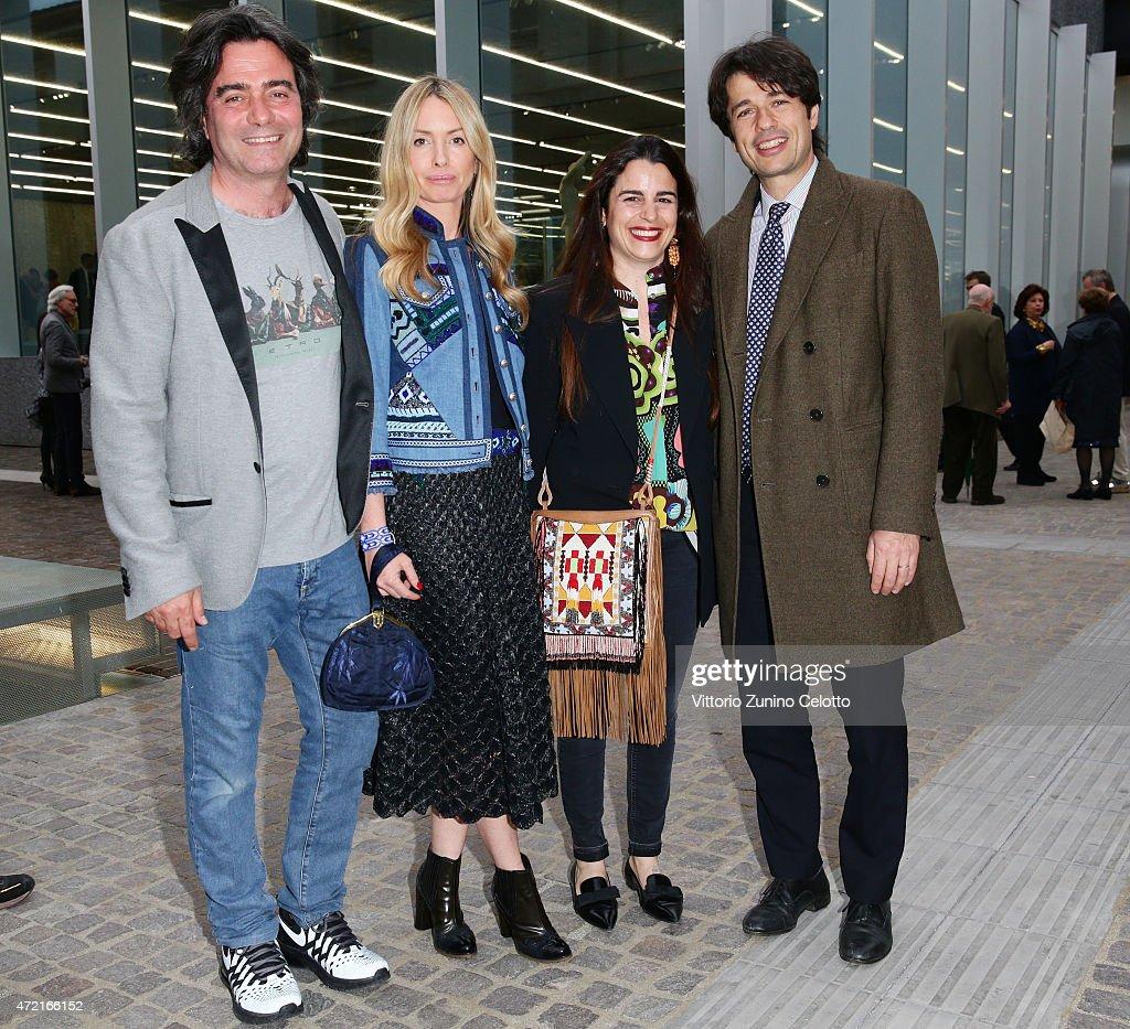 Kean Etro, Constanza Cavalli Etro, Veronica Etro and Alessandro Frigerio attend the Fondazione Prada Opening on May 4, 2015 in Milan, Italy.