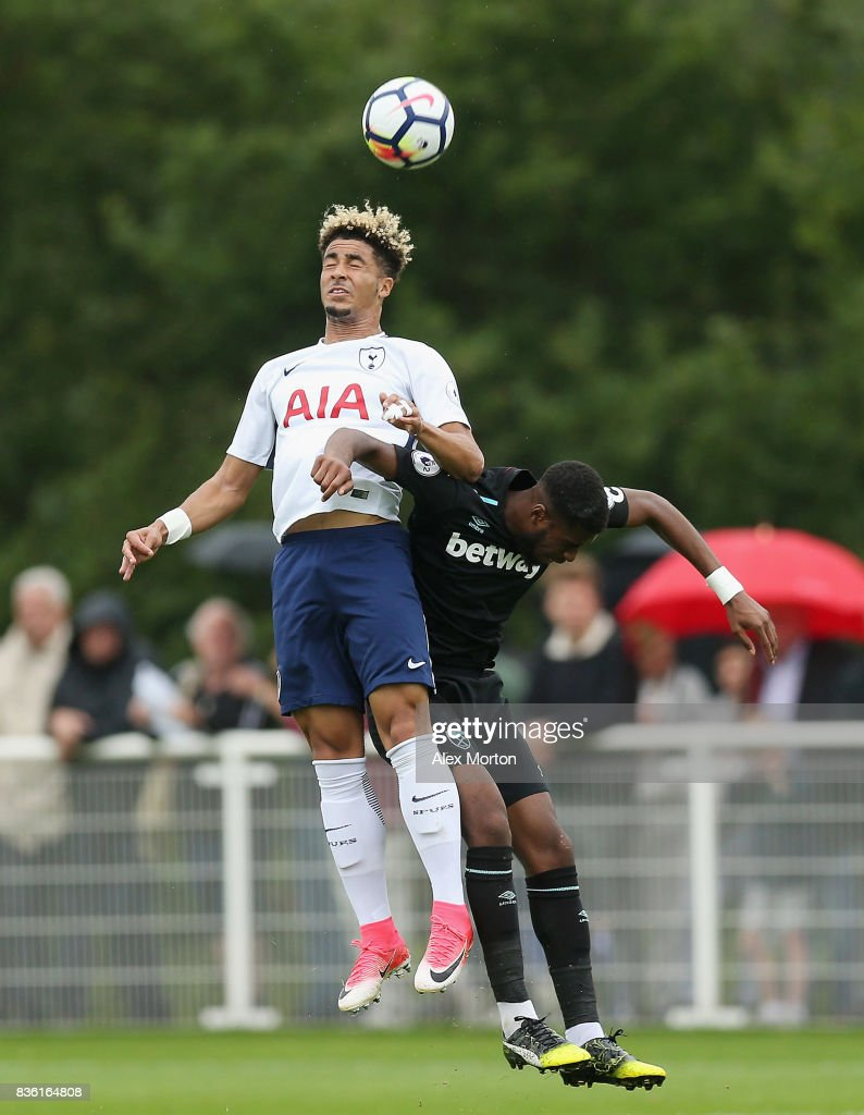 Keanan Bennetts of Tottenham and Moses Makasi of West Ham during the Premier League 2 match between Tottenham Hotspur and West Ham United at Tottenham Hotspur Training Centre on August 21, 2017 in Enfield, England.