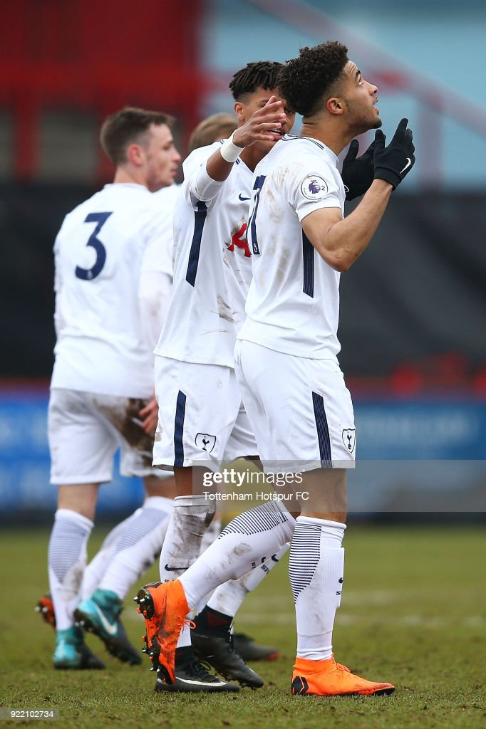 Keanan Bennetts of Tottenham Hotspur celebrates scoring a goal with his team at The Lamex Stadium on February 21, 2018 in Stevenage, England.