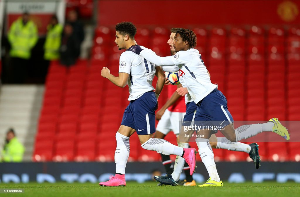 Keanan Bennetts of Tottenham Hotspur celebrates scoring his sides opening goal during the Premier League 2 match between Manchester United and Tottenham Hotspur at Old Trafford on January 29, 2018 in Manchester, England.