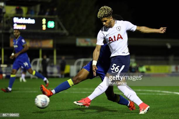 Keanan Bennetts of Tottenham Hotspurs scores their 3rd goal during the Checkatrade Trophy match between AFC Wimbledon and Tottenham Hotspur U21 at...
