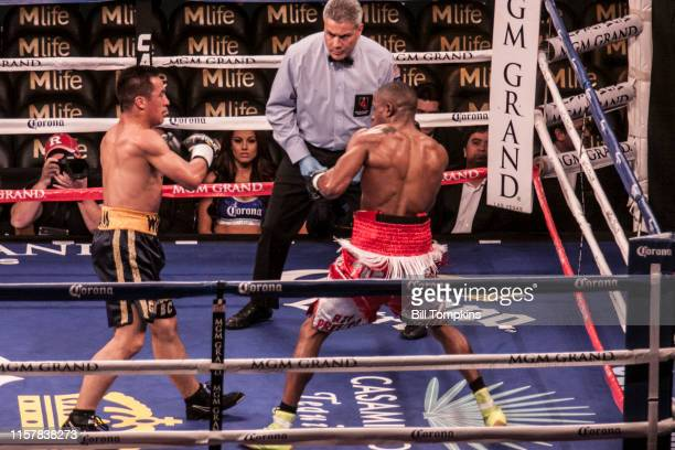 Keandre Gibson defeats Antonio Wong by TKO in the 4th round in their Super Lightweight boxing match at The MGM Hotel on March 8 2014 in Las Vegas...