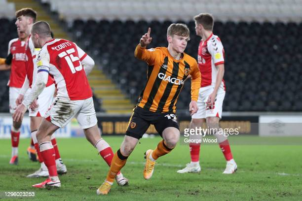 Keane Lewis-Potter of Hull City celebrates after scoring their team's second goal during the Papa John's Trophy match between Hull City and Fleetwood...
