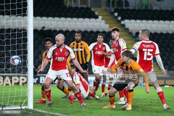Keane Lewis-Potter of Hull City scores their team's second goal during the Papa John's Trophy match between Hull City and Fleetwood town at KCOM...