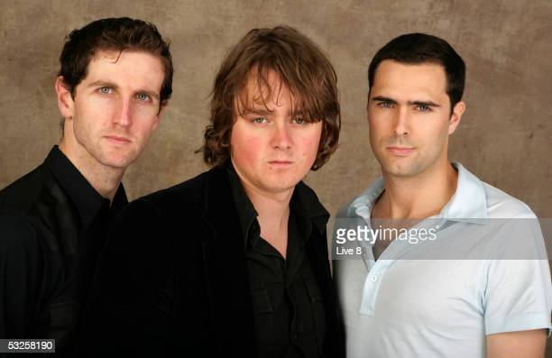 Keane pose for a studio portrait backstage at Live 8 London in Hyde Park on July 2 2005 in London England The free concert is one of ten simultaneous...