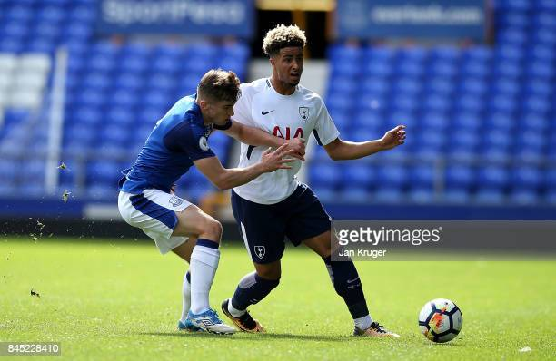 Keanen Bennetts of Tottenham Hotspur battles with Jonjoe Kenny of Everton during the Premier League 2 match between Everton and Tottenham Hotspur at...