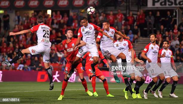 Keanu Baccus of the Wanderers headers the ball during the round 27 ALeague match between Adelaide United and the Western Sydney Wanderers at Coopers...