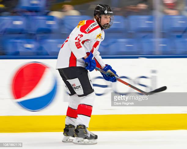 Keanu Derungs of the Switzerland Nationals follows the play against the USA Nationals during day-2 of game two of the 2018 Under-17 Four Nations...