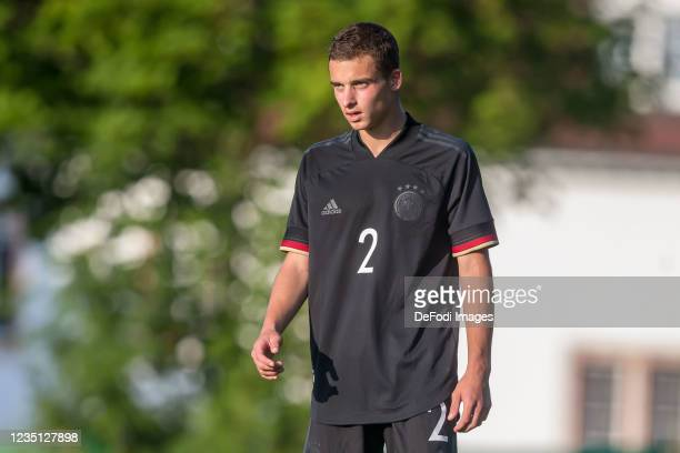 Keanu Kraft of Germany Looks on during the international friendly match between Germany U19 and England U19 at Salinenstadion on September 6, 2021 in...
