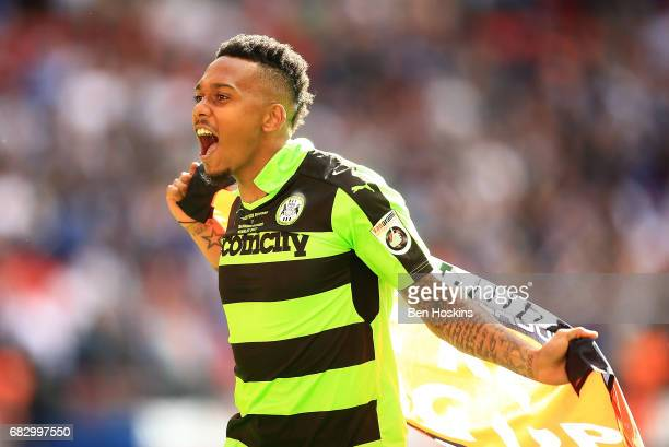 Keanu MarshBrown of Forest Green celebrates following the Vanarama National League Play Off Final between Tranmere and Forest Green at Wembley...