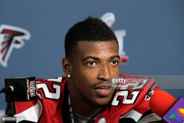 Keanu Neal of the Atlanta Falcons addresses the media during the Super Bowl LI press conference on February 1 2017 in Houston Texas