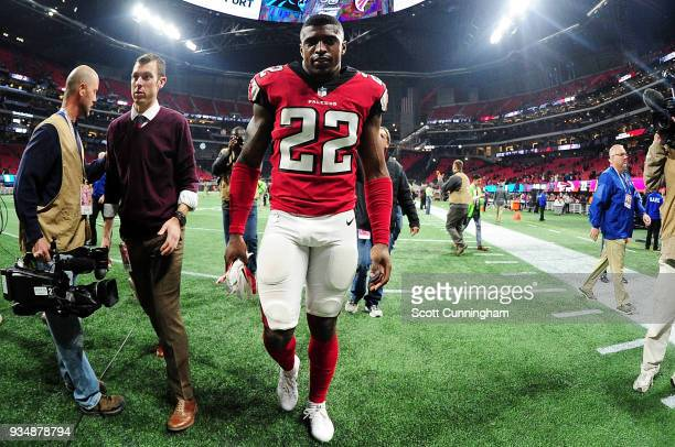 Keanu Neal of the Atlanta Falcons after the game against the Carolina Panthers at MercedesBenz Stadium on December 31 2017 in Atlanta Georgia