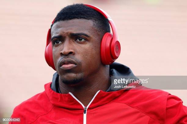 Keanu Neal of the Atlanta Falcons is seen prior to the NFC Wild Card Playoff Game against the Los Angeles Rams at the Los Angeles Coliseum on January...