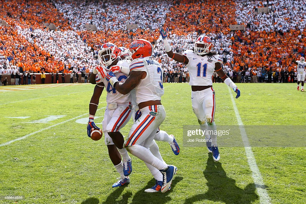 Keanu Neal #42 of the Florida Gators celebrates after intercepting a pass late in the game against the Tennessee Volunteers at Neyland Stadium on October 4, 2014 in Knoxville, Tennessee. Florida defeated Tennessee 10-9.