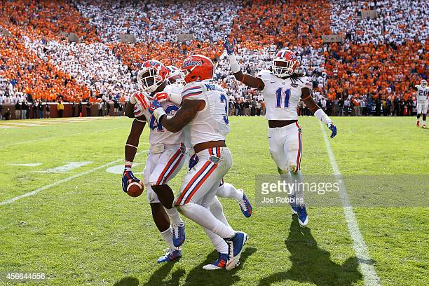 Keanu Neal of the Florida Gators celebrates after intercepting a pass late in the game against the Tennessee Volunteers at Neyland Stadium on October...
