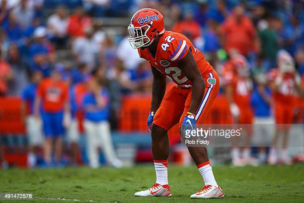 Keanu Neal of the Florida Gators in action before the game against the Mississippi Rebels on October 3 2015 in Gainesville Florida