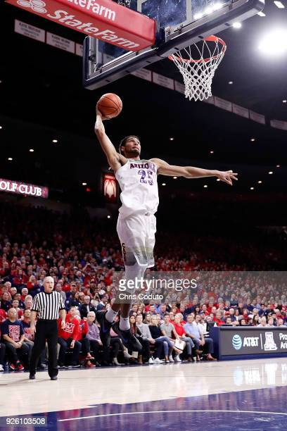 Keanu Pinder of the Arizona Wildcats dunks during the second half of the college basketball game against the Stanford Cardinal at McKale Center on...