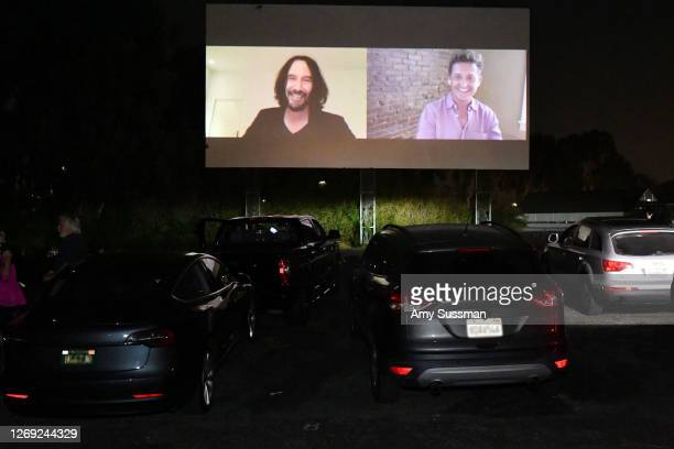 "Keanu Reeves and Alex Winter surprise fans with a message at a special screening of ""Bill & Ted Face The Music"" at Mission Tiki Drive-in Theater on..."