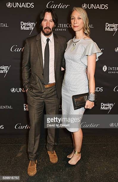 Keanu Reeves and artist Alexandra Grant attend the UNAIDS Gala during Art Basel 2016 at Design Miami/ Basel on June 13 2016 in Basel Switzerland