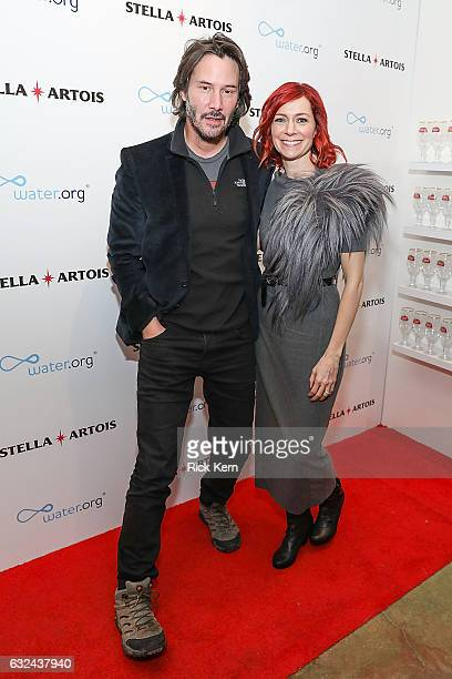 Keanu Reeves and Carrie Preston at the 'To the Bone' party in the Stella Artois Filmmaker Lounge during the Sundance Film Festival on January 22 2017...