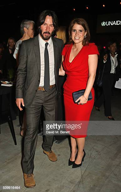 Keanu Reeves and Princess Eugenie of York attend the UNAIDS Gala during Art Basel 2016 at Design Miami/ Basel on June 13 2016 in Basel Switzerland