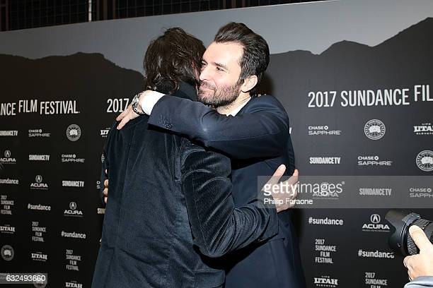 Keanu Reeves and producer Andrea Iervolino attend the AMBI Media Group 'To The Bone' Premiere on day 4 of the 2017 Sundance Film Festival at Eccles...