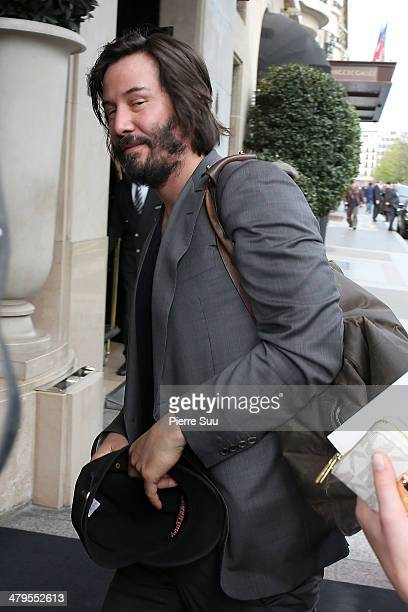 Keanu Reeves at his hotel on March 19 2014 in Paris France