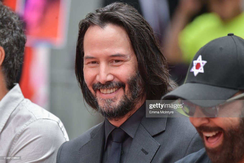 Keanu Reeves Places His Hand Prints In Cement At TCL Chinese Theatre IMAX Forecourt : News Photo