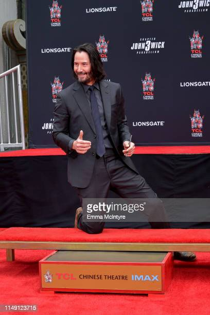 Keanu Reeves attends 'Keanu Reeves places his hand prints in cement' at TCL Chinese Theatre IMAX on May 14 2019 in Hollywood California