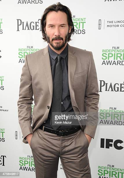 Keanu Reeves attends the 2014 Film Independent Spirit Awards at Santa Monica Beach on March 1 2014 in Santa Monica California