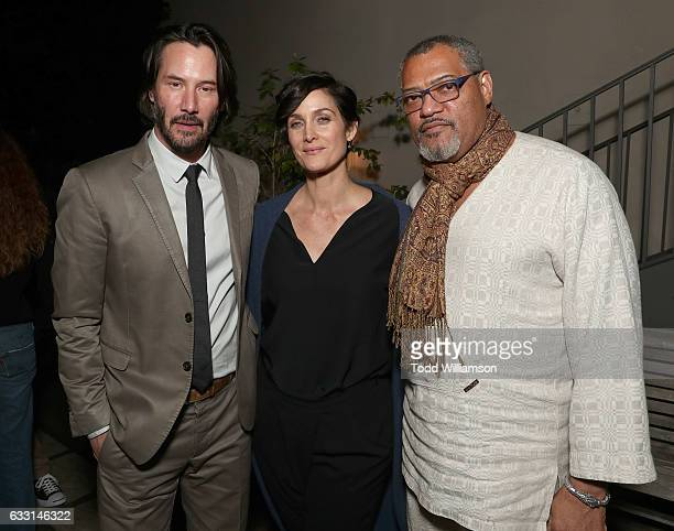 Keanu Reeves CarrieAnne Moss and Laurence Fishburne attend the after party for the premiere of Summit Entertainment's 'John Wick Chapter Two'on...