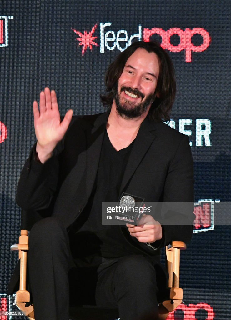 Keanu Reeves discusses Replicas during the 2017 New York Comic Con - Day 1 on October 5, 2017 in New York City.
