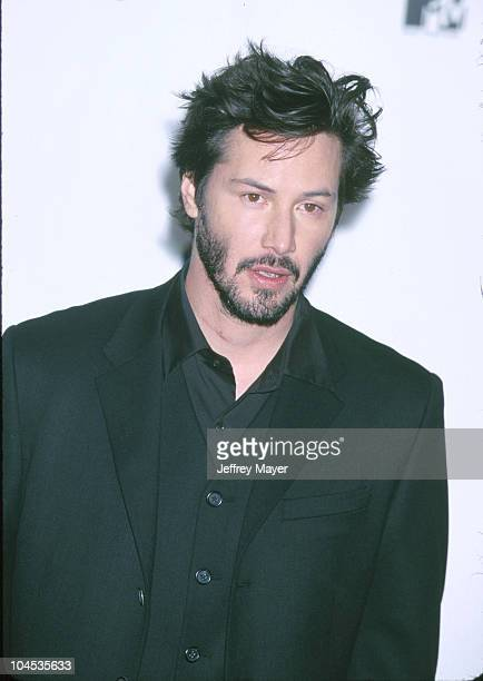 Keanu Reeves during The 1999 MTV Movie Awards at Barker Hanger in Santa Monica California United States