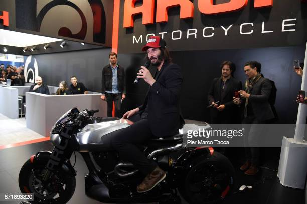Keanu Reeves is seen at EICMA 2017 the International Motorcycle Fair on November 8 2017 in Milan Italy