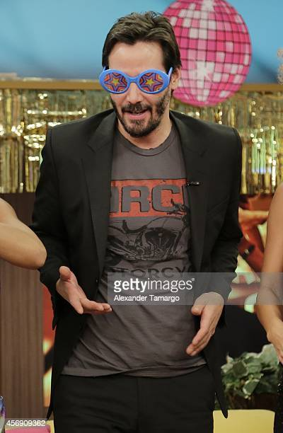 Keanu Reeves is seen on the set of Despierta America to promote the new movie 'John Wick' at Univision Headquarters on October 9 2014 in Miami Florida