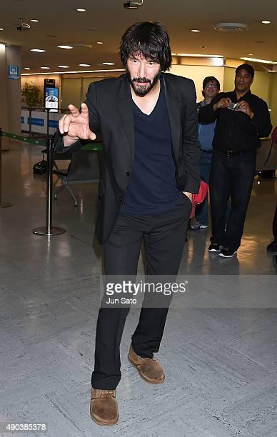 Keanu Reeves is seen upon arrival at Narita International Airport on September 28 2015 in Narita Japan