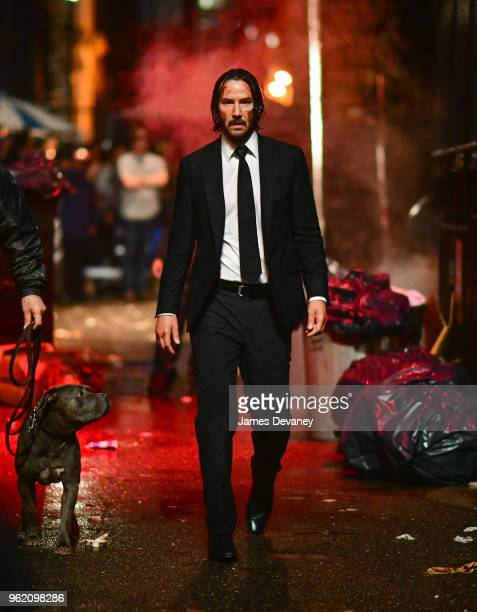 Keanu Reeves seen on location for 'John Wick 3' in Manhattan on May 23 2018 in New York City