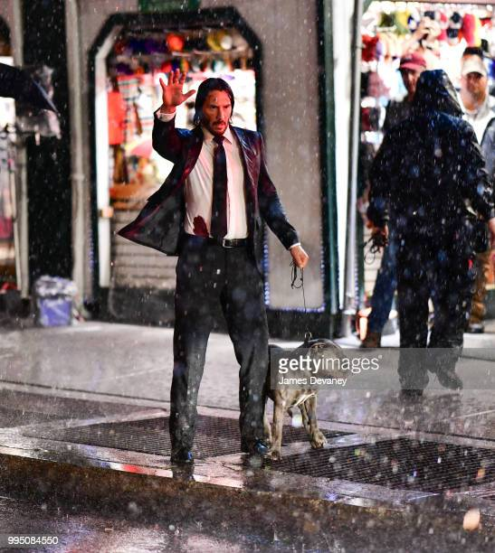 Keanu Reeves seen on location for 'John Wick 3' near Times Square on July 9 2018 in New York City