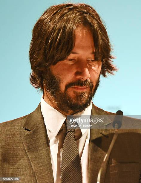 Keanu Reeves speaks at the UNAIDS Gala during Art Basel 2016 at Design Miami/ Basel on June 13 2016 in Basel Switzerland