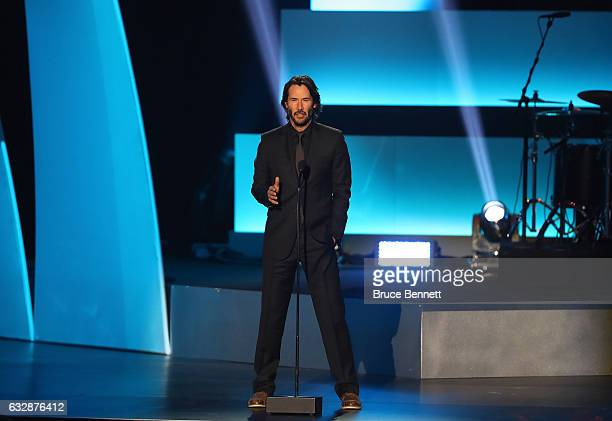 Keanu Reeves speaks onstage during the NHL 100 presented by GEICO show as part of the 2017 NHL AllStar Weekend at the Microsoft Theater on January 27...