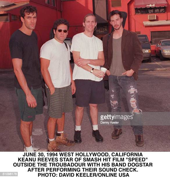 """Keanu Reeves, The Star Of New Smash Film """"Speed"""", Poses Outside Of The Troubadour With His Band Dogstar After Their Sound Check In West Hollywood,..."""