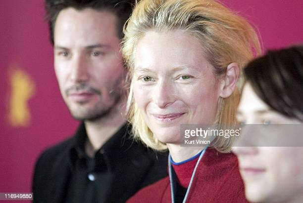 Keanu Reeves Tilda Swinton and Lou Taylor Pucci during 55th Berlin International Film Festival 'Thumbsucker' Photocall in Berlin Germany