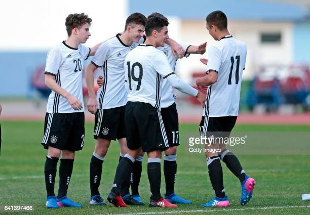 Keanu Schneider Antonis Aidonis Abdulkerim Cakar Fabrice Hartmann and Oliver BatistaMeier of Germany U16 celebrate Oliver BatistaMeier score on the...