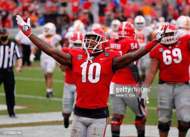 Kearis Jackson of the Georgia Bulldogs reacts after a touchdown reception against the Tennessee Volunteers during the second half at Sanford Stadium...