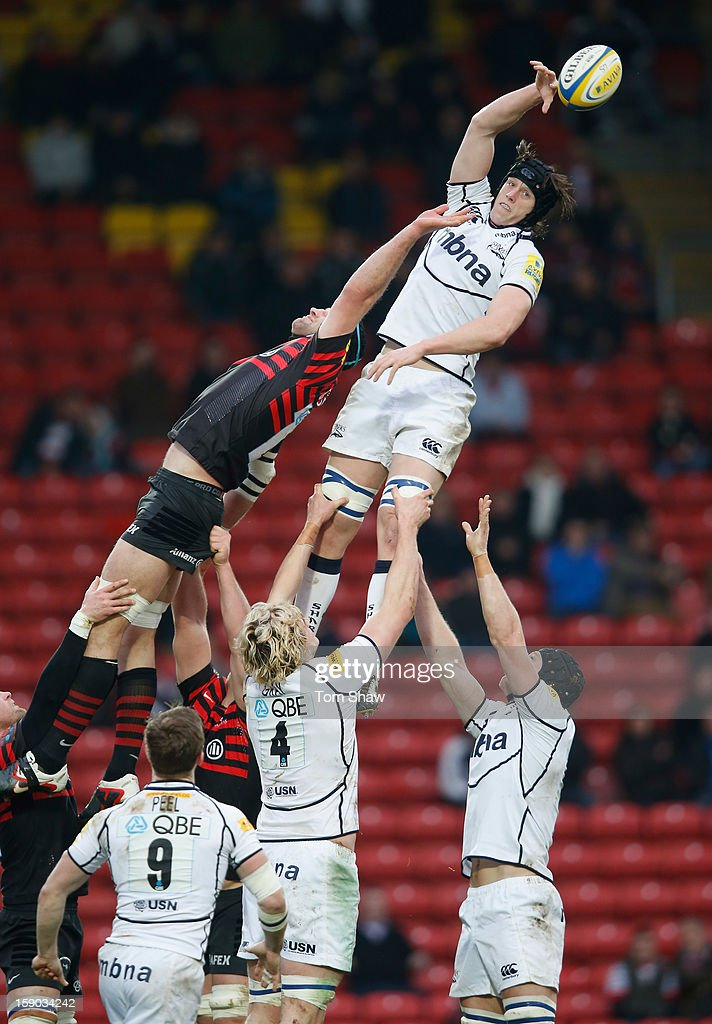 Kearnan Myall of Sale wins a line out during the Aviva Premiership match between Saracens and Sale Sharks at Vicarage Road on January 6, 2013 in Watford, England.