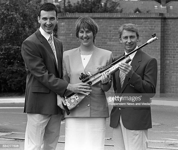 TJ Kearns Rhona Barry and Captain John Leddingham are pictured in their new Olympic competitors' uniforms at the Riverview Club Picture Declan Cahill...