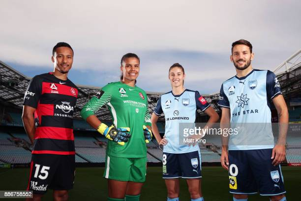 Kearyn Baccus and Jada MathyssenWhyman of the Wanderers and Amy Harrison and Milos Ninkovic of Sydney FC pose during a joint Sydney FC and Western...