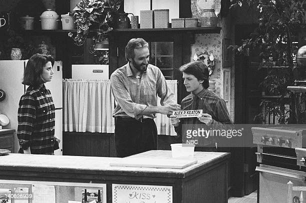 TIES Keaton and Son Episode 10/18/84 Pictured Justine Bateman as Mallory Keaton Michael Gross as Steven Keaton Michael J Fox as Alex P Keaton Photo...