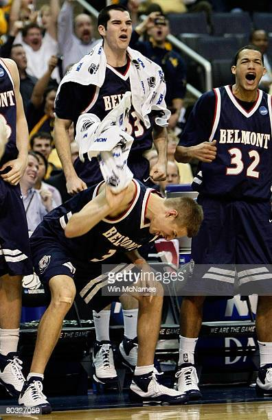 Keaton Belcher Will Peeples and Jordan Campbell of the Belmont Bruins react to a play from the bench against the Duke Blue Devils during the first...